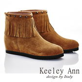 ★零碼出清★Keeley Ann 日系民族~真皮鉚釘流蘇造型心機內增高短靴(棕色)