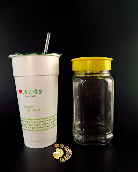 黃蓋蜂蜜瓶.8角玻璃瓶. 微景觀花瓶☆人造花.插花配件.居家.店面.櫥窗.玄關擺飾.園藝資材用品☆