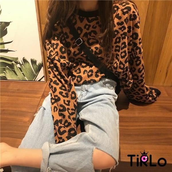 長T-Tirlo-韓款豹紋束口寬鬆衛衣-三色(現+追加預計5-7工作天出貨)