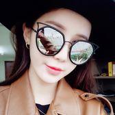 現貨-韓版ulzzang時尚百搭復古貓眼顯瘦圓臉墨鏡女士韓版時尚氣質舒適太陽鏡 229