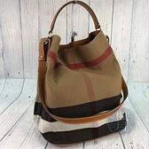 BRAND楓月 BURBERRY 經典格紋 帆布 水桶包 側背包 手提包 大款 附手拿包