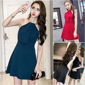新款韓版性感抹胸掛脖露背洋裝短裙夜場禮服包臀裙子
