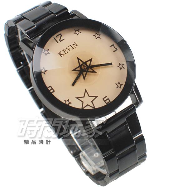 KEVIN 轉動星辰 造型時尚流行錶 立體多角切割鏡面 學生錶 防水手錶 IP黑電鍍 男錶 KV2068星白大