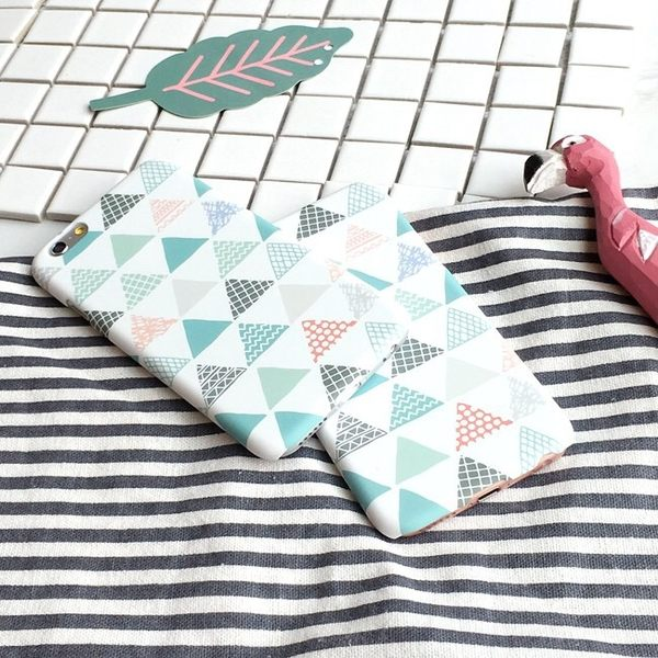 iPhoneX手機殼 韓國簡約小清新三角文藝 磨砂硬殼 蘋果i8X/iPhone7/6Plus/i5se