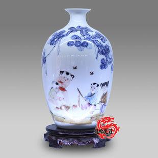 景德鎮陶瓷器花瓶青花窯變人物鬥彩