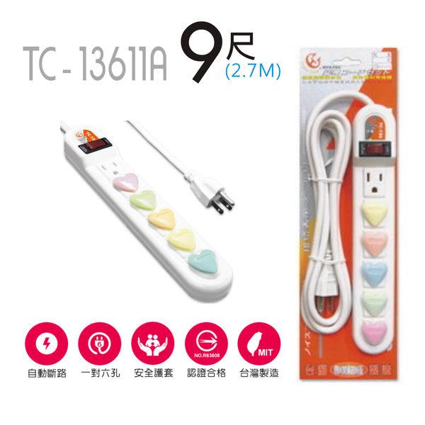 成電1開6插電腦延長線 11A 9尺 TC-136