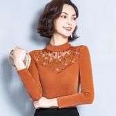 長袖t恤女秋冬新款女裝百搭網紗蕾絲打底衫女士上衣 韓國時尚週