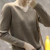 上衣針織衫打底衫寬鬆套頭洋氣毛衣長袖內搭上衣V領針織衫T432B-9056.胖胖唯依