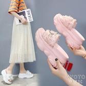 2020夏季新款其他拖鞋鬆糕底聚氨酯鬆糕跟高跟布防水臺2020年春季 京都3C