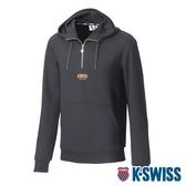 K-SWISS Semi Zip Open Hoodie連帽上衣-男-黑