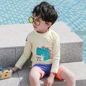 長袖兒童防曬泳衣  男童中小童寶寶分體泳衣  恐龍印花帶帽