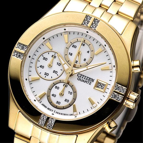 CITIZEN 氣質仕女3眼計時晶鑽腕錶-IP金(FA1042-56A)