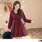 《DA8048-》浪漫純色層次荷葉裙襬鬆緊腰綁帶拋袖洋裝 OB嚴選