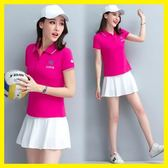天天新品新款羽毛球服套裝女夏季網球服套裝短袖褲裙女套裙顯瘦休閒運動裙