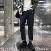 牛仔褲男秋季褲子黑色牛仔褲男韓版潮流修身小腳褲學生百搭寬鬆九分褲 多色小屋