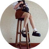 全館83折 時光里的店日系學院萌妹Lolita松糕厚底鞋原宿圓頭拉鏈拼接娃娃鞋