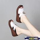 中大尺碼厚底涼鞋 2020夏季新款高跟韓版女拖鞋外穿一字拖鞋女搭扣鞋女涼拖 8號店