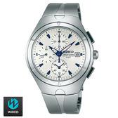 WIRED SEIKO副牌 特殊稜角中性白面藍針三眼鋼錶 41mm AF8U25X1 7T92-X272S | 名人鐘錶高雄門市
