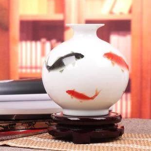 蘋果年年有餘 粉彩花瓶