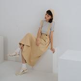 Queen Shop【03060236】可拆式吊帶斜紋高腰傘擺裙 兩色售*現+預*