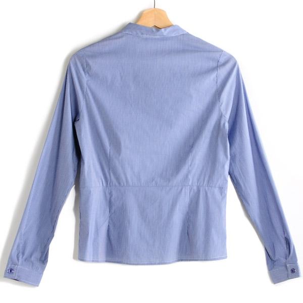 【MASTINA】細條紋荷葉邊襯衫-藍  秋裝限定嚴選