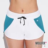Mollifix 瑪莉菲絲 微光拼色極短褲 (白+藍綠)