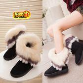 雪靴 2019冬季新款中筒圓頭靴子加厚防滑女士狐貍毛雪地靴流蘇兔毛棉靴