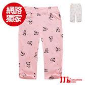 網路獨家-JJLKIDS 女童  可愛熊貓星星鬆緊休閒六分褲(2色)