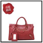 巴黎世家CLASSICGOLDCITYS小金扣手提/斜背機車包(紅色)部落客推薦431621全新商品