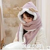 保暖圍巾女冬季可愛少女秋冬百搭韓版帽子圍脖手套一體冬學生毛絨 創意新品