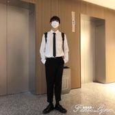 港風秋季新品大碼長袖白色襯衣男襯衫韓版寬鬆男士襯衣潮 范思蓮恩