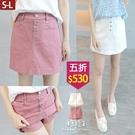 【五折價$530】糖罐子排釦車線造型口袋後縮腰純色褲裙→預購(S-L)【KK7325】