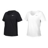 NIKE 女短袖T恤(吸濕排汗 運動 上衣 慢跑 路跑 拼接網布≡體院≡ CU3235