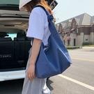慵懶風學生百搭女包包 尼龍布韓版氣質大包包 大容量女士托特包 時尚女生單肩包 簡約純色托特包
