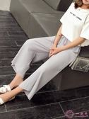寬管褲 2019春秋新款垂感雪紡百褶闊腿褲女夏高腰寬鬆墜感九分褲顯瘦學生