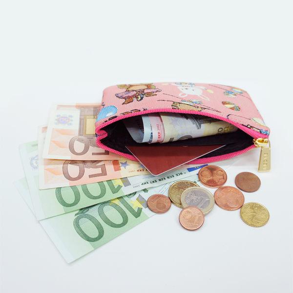 零錢包-開心馬戲團織畫緹花卡片零錢包 藍綠-REORE