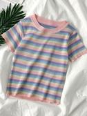 針織上衣ins超火洋氣彩虹條紋短袖T恤女2020夏季新款韓版修身短款針織上衣 JUST M