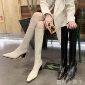 2020新款網紅時裝靴尖頭側拉鏈高跟過膝騎士靴顯瘦氣質性感長靴女 蘿莉新品