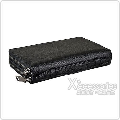 COACH專櫃款 經典壓印LOGO防刮牛皮直立式30卡雙拉鍊手拿長夾(黑)