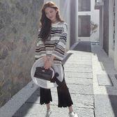 特價休閒百搭圓領黑白條紋T恤女夏新款寬鬆長袖中長款上衣【喜迎盛夏好康爆賣】