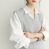 針織馬甲女-無袖毛衣馬甲女士新款棉外穿潮坎肩秋冬寬鬆v領針織背心馬夾 多麗絲