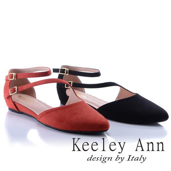 ★2018春夏★Keeley Ann氣質甜美~金屬釦環腳背帶真皮軟墊平底奧賽鞋(紅色)