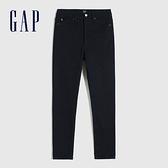Gap女裝 時尚抓絨內裡高腰牛仔褲 656448-深靛藍色