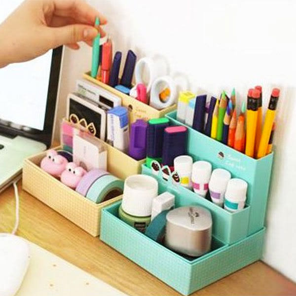 【BlueCat】雜貨救星 MiniCafe蛋糕咖啡館DIY桌面分類小收納盒 文具盒