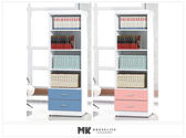【MK億騰傢俱】ES126-3G青少年粉紅/藍白2尺二抽開放書櫃