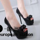 高跟鞋/ 14cm高魚口單鞋蝴蝶結細跟女鞋「歐洲站」