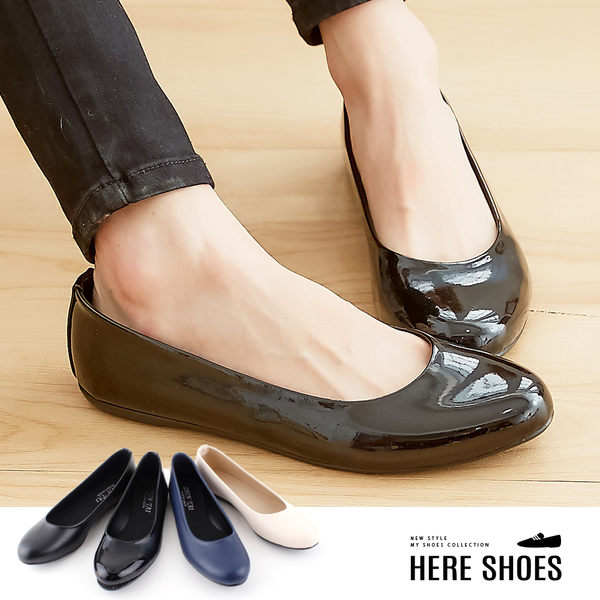 [Here Shoes]休閒鞋-MIT台灣製OL上班族好搭圓頭包鞋素面皮革平底鞋娃娃鞋─ANDP818