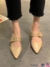 熱賣穆勒鞋 粗跟穆勒鞋2021春季新款韓版網紅百搭時尚尖頭包頭舒適淺口工作鞋 coco