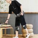 男短袖t恤 男短袖套裝 夏季棉麻短袖t恤 休閒亞麻衣服 一套 中式 【圖拉斯】