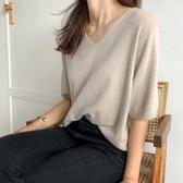 夏季女慵懶風V領短袖針織衫韓范休閒百搭寬鬆短款T恤素色上衣小衫